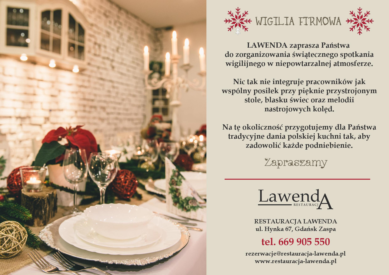Restauracja Lawenda Gdańsk - Wigilia firmowa